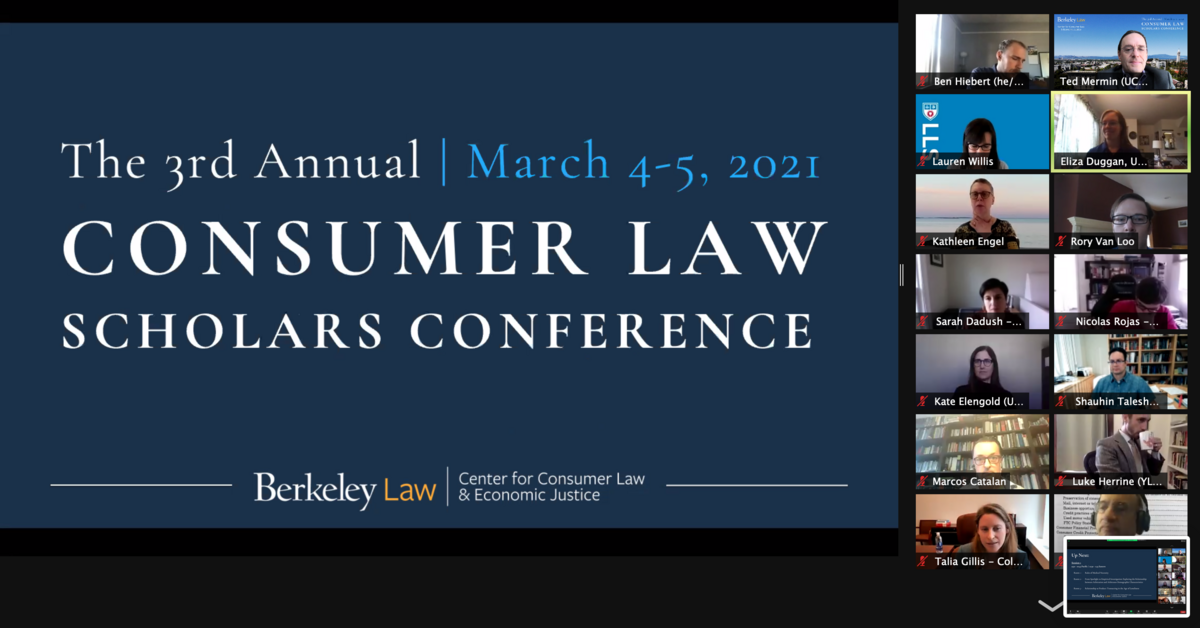 """Screenshot of Zoom attendees, banner image saying """"3rd Annual Consumer Law Scholars Conference"""""""